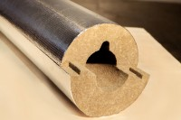 Цилиндры из минеральной ваты кашированные алюминиевой фольгой